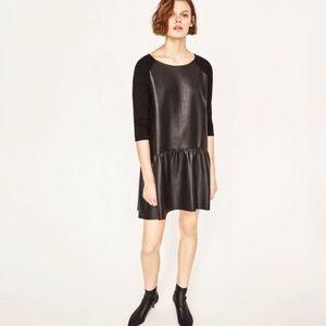 New Zara Faux Leather Black Ruffle Shift Dress